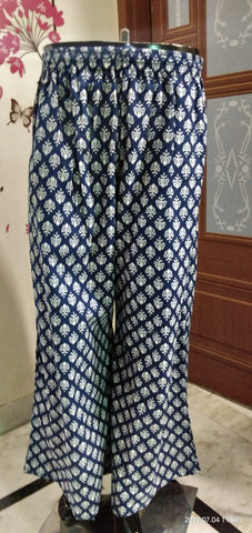 Blue Cotton ready made palazzo with pocket for casually wear - EBUNTY