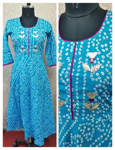 Wonderful Blue colour Bandhej Print with gota work long Anarkali Kurti For festivals - EBUNTY
