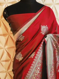 Red Banaras weaving silk saree - EBUNTY