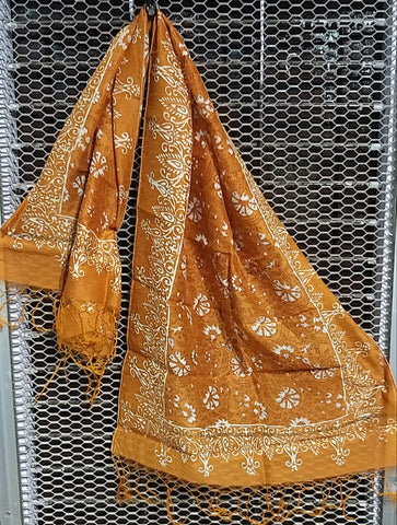 Yellow colour Chanderi silk stoll - EBUNTY