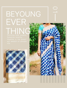 Blue linen Saree with border for stylish women - EBUNTY