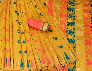 Yellow colour Venkatagiri Kora cotton Saree with border for stylish women