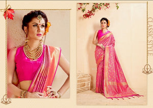 Rani pink colour Art Silk weaving wedding Saree with matching blouse for special occasions - EBUNTY