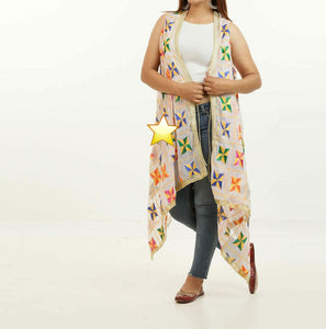 Phulkari aari work cream color shrugs for trendy stylish women - EBUNTY