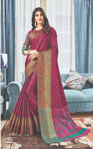 Rani pink colour Handloom silk Saree for occasions - EBUNTY
