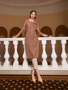 Chocalate brown color rayon slub silk embroidery Kurti - EBUNTY