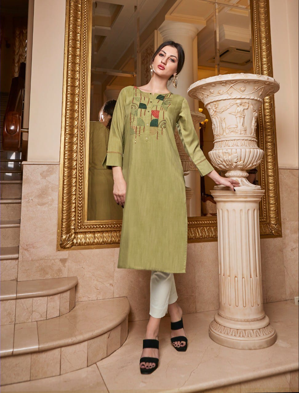 Green color rayon slub silk embroidery Kurti - EBUNTY