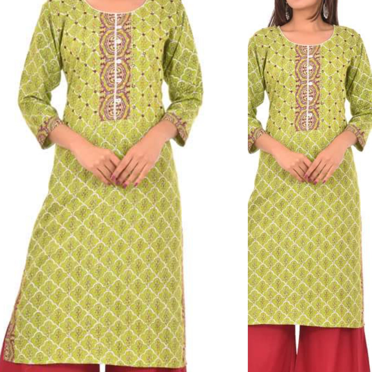 cotton Straighttcut ype Kurti with embroidery and mirror work