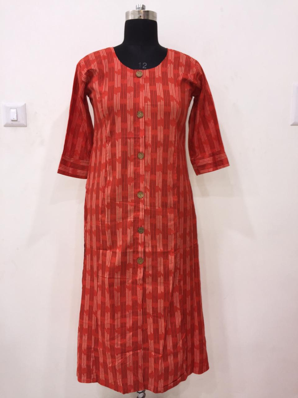 Cotton printed casual kurtis with Pocket for regular use