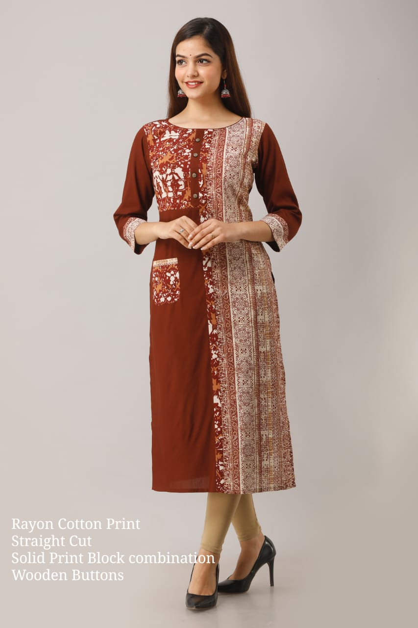 Rayon cotton Straight cut ype Kurti with embroidery and mirror work
