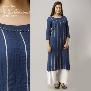 Rayon cotton Straighttcut ype Kurti with embroidery and mirror work