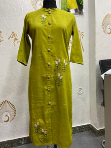 Beautiful Rayon slub Embriodery kurti