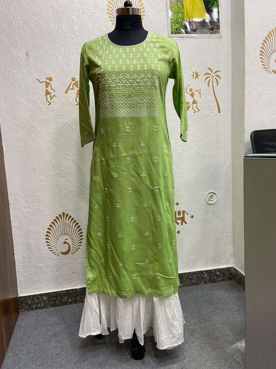 Beautiful Embriodery work Kurtis with Shara for Readymade lovers
