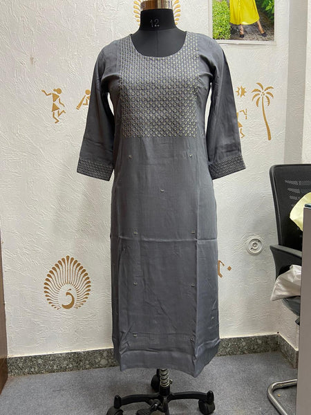 Beautiful Heavy embroidery Rayon slub kurti