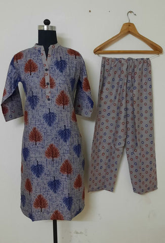 Rayon printed Kurti with pant for casual wear