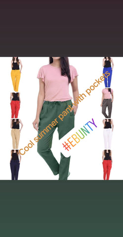 Cool summer cotton flexible trendy pants with pockets