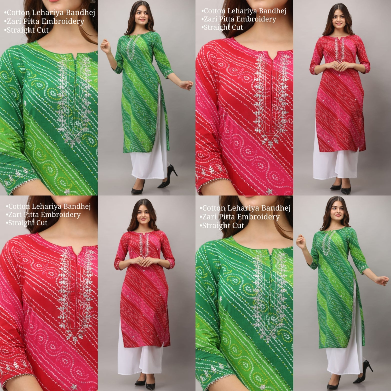 Beautiful work lehariya Kurti for all seasons