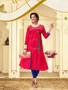 COTTON KURTI WITH EMBRIDERY WORK