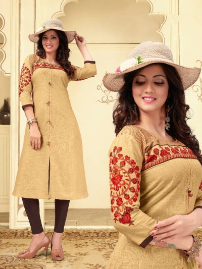 BEIGE COLOUR COTTON KURTI WITH EMBRIDERY WORK