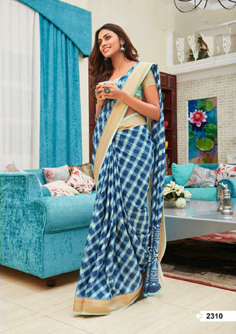 Stylish Blue Linen Cotton silk saree with blouse
