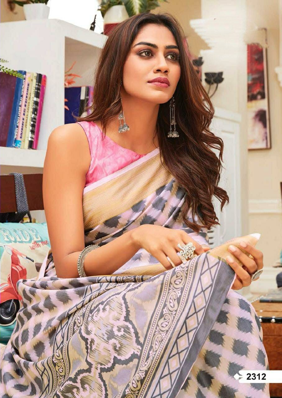 Stylish pink Linen Cotton silk saree with blouse