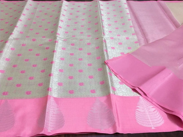 Pink color maslin silk Saree for occasions - EBUNTY