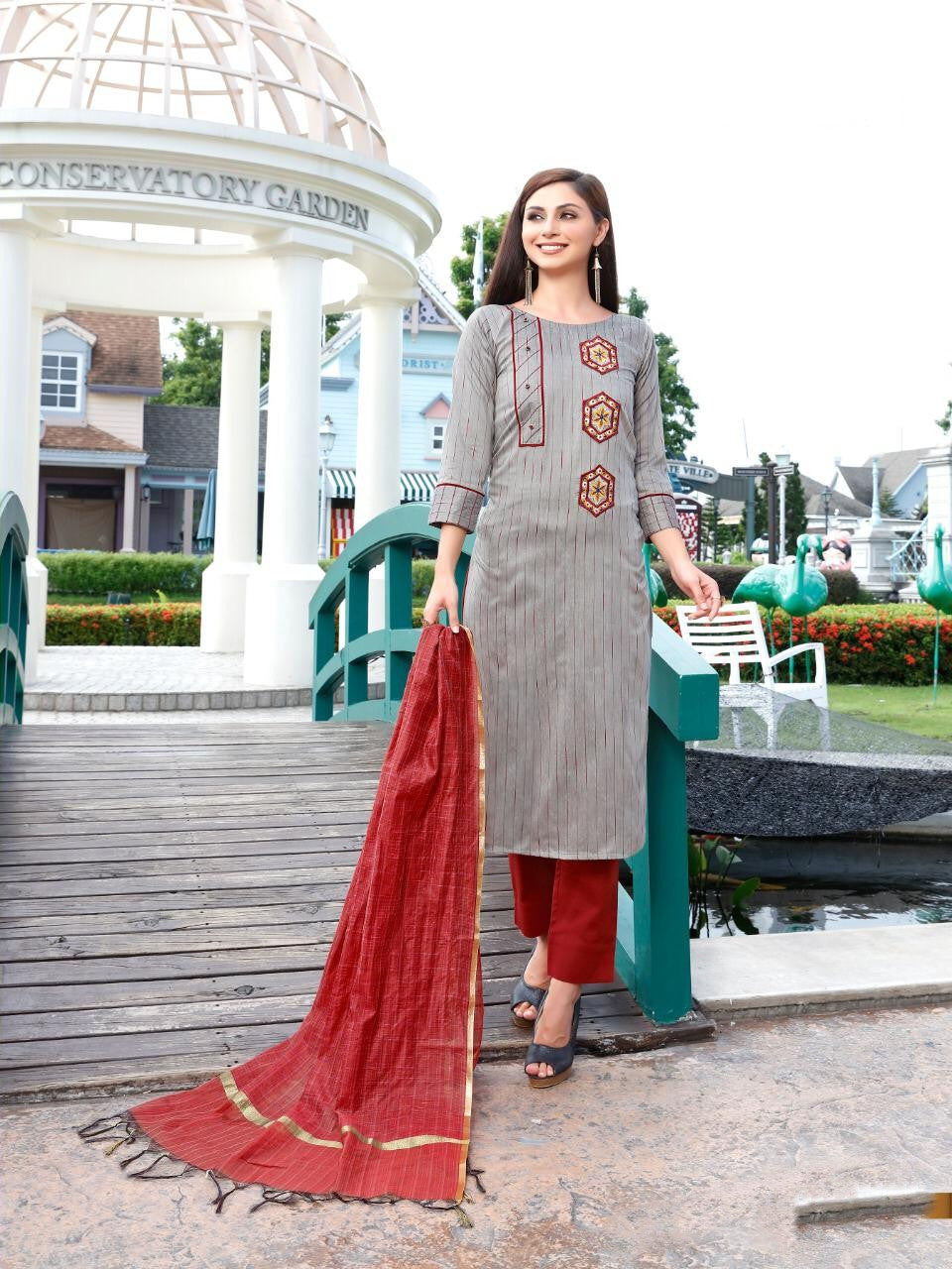 Grey colour cotton embroider Kurti with cotton pant and chanderi duppata - EBUNTY