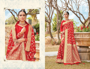Red 🌹 Pure Silk Saree with Blouse - EBUNTY