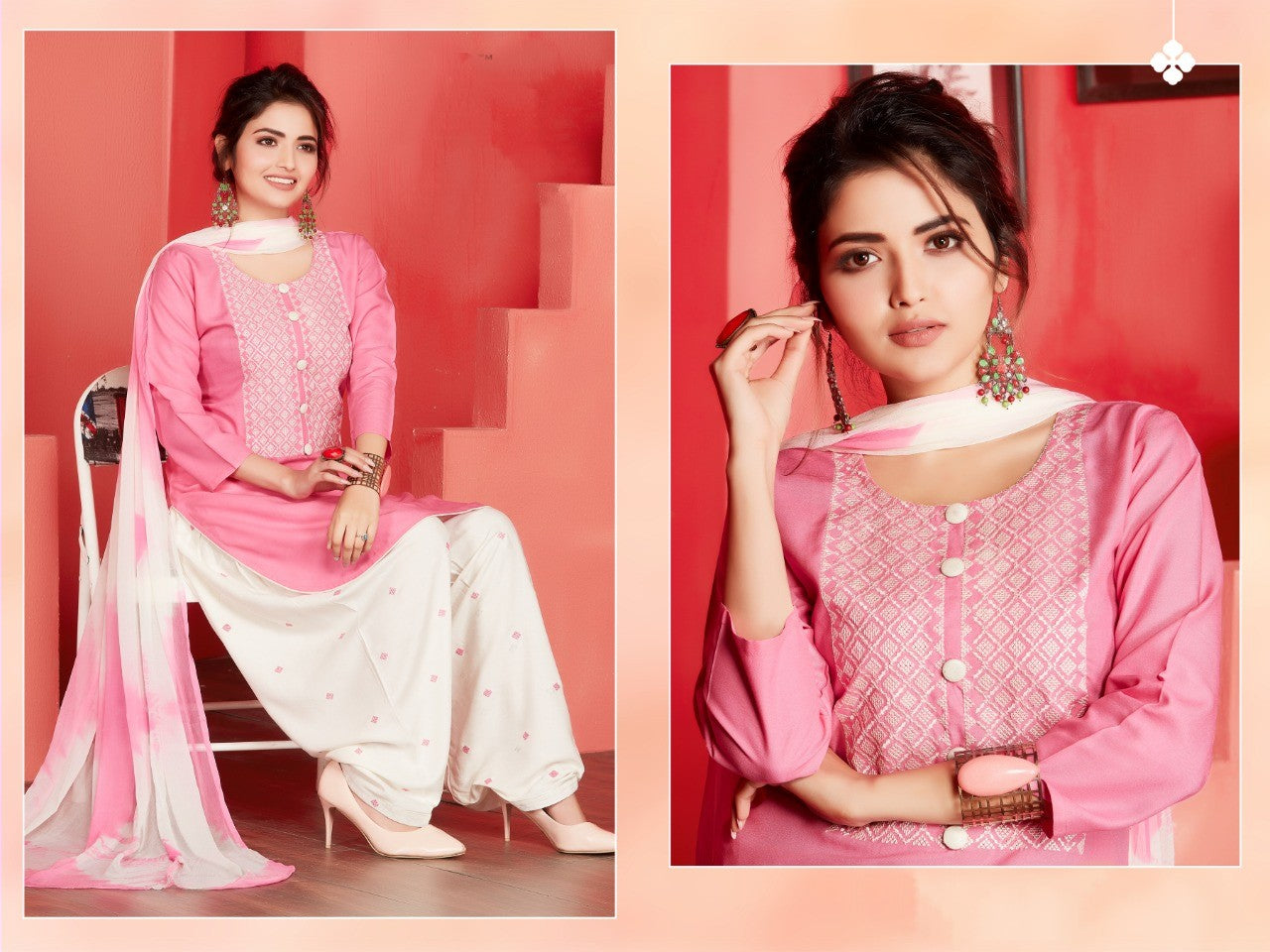 Rayon cotton embroidery work patiala ready to wear suiy - EBUNTY
