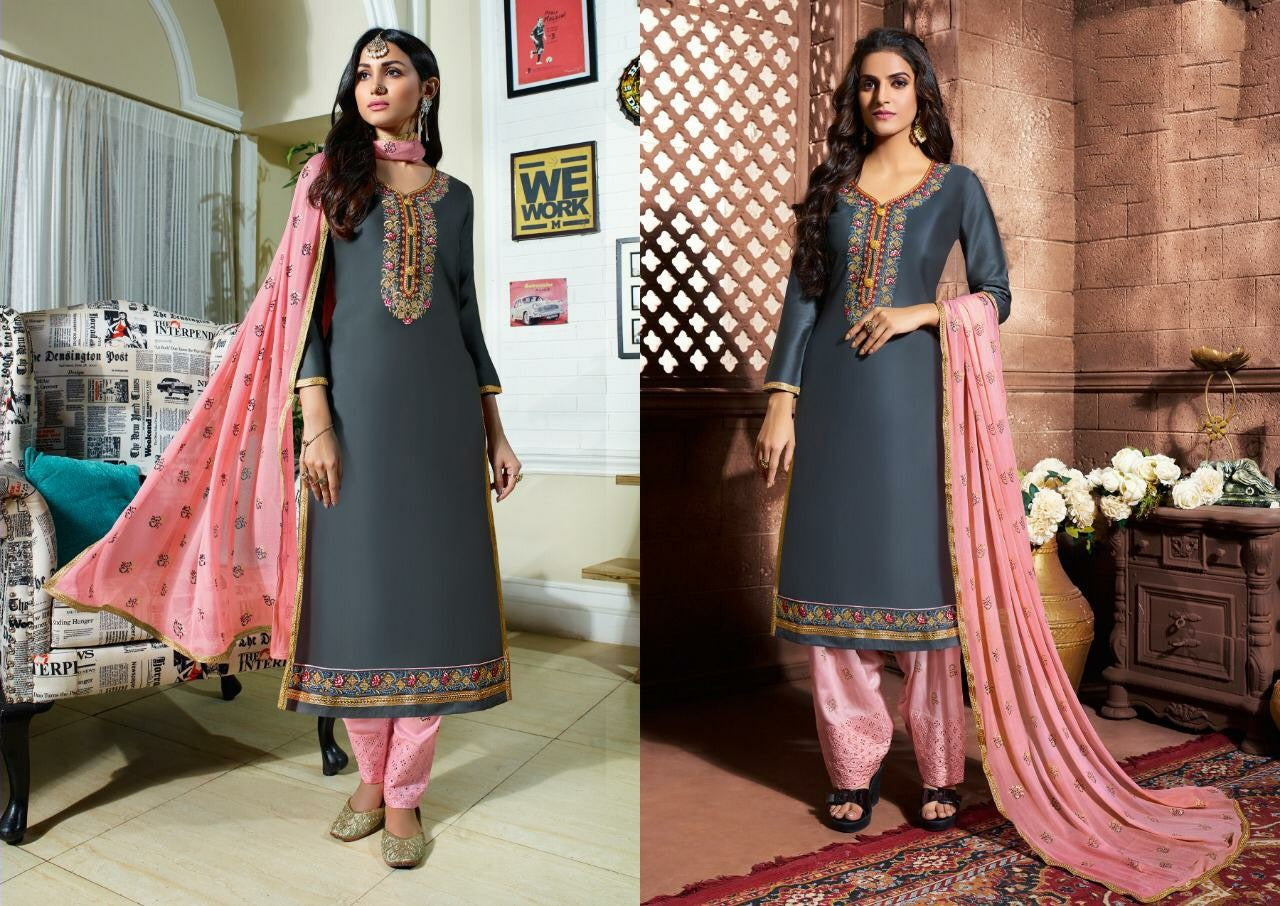 Grey color silk cotton heavy work Unstitched suit materials with work duppata