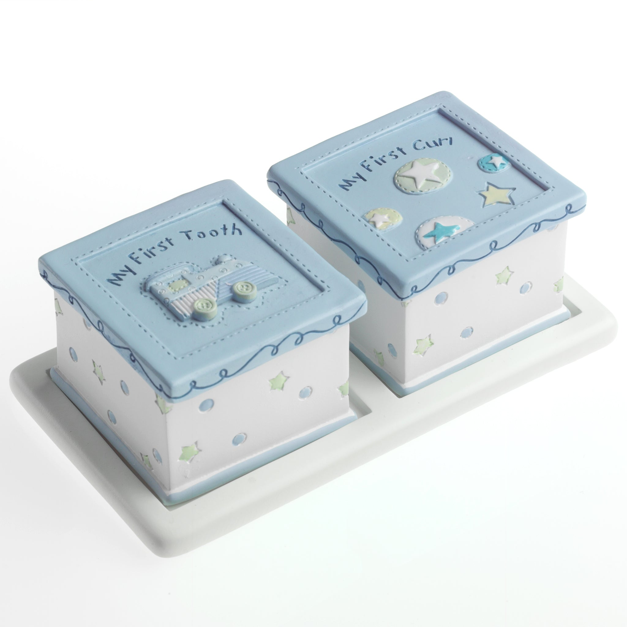 Baby Resin Tooth & Curl Boxes Blue Train Design with Tray
