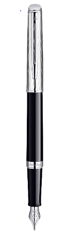 Waterman Hemisphere Deluxe Chrome Trim Fountain Pen, Medium Nib, Metal and Black