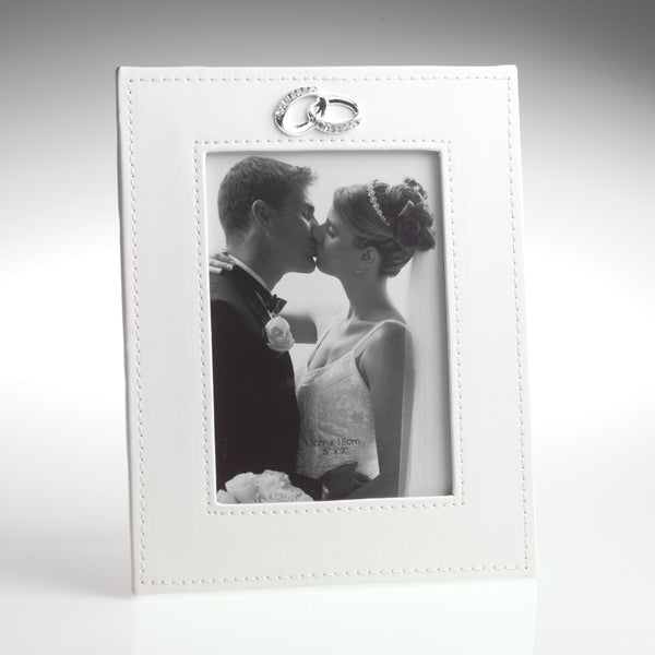 "Wedding Photo Frame 5""x 7"" - Cream Faux Leather with Rings Icon"