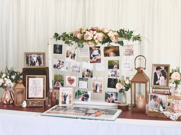 Enchanted rose gold theme photo display table package