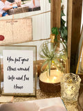 Rustic gold theme photo display table package