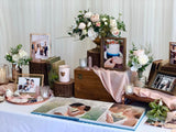 Rustic rose gold theme photo display table package