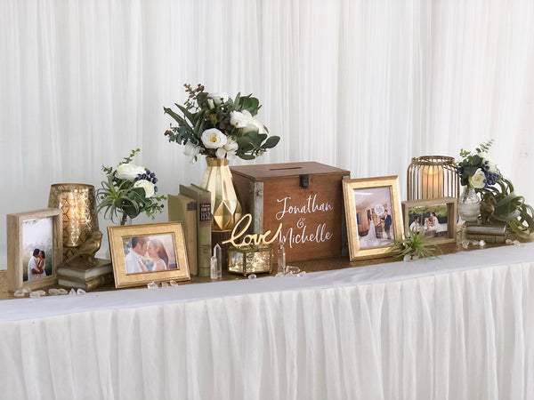 Rustic gold theme reception table package