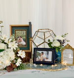 Dusty blue & gold theme reception table package