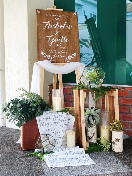 Rustic botanical theme welcome signage package