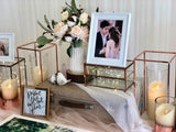 Rose gold travel theme photo display table package