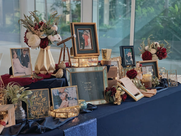 Navy blue & burgundy theme photo display package