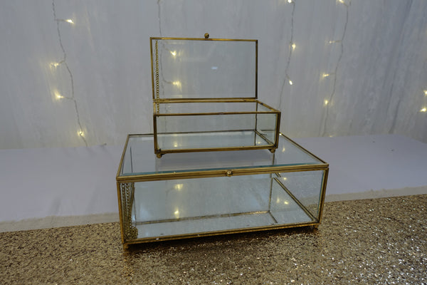 Gold framed rectangular glass box