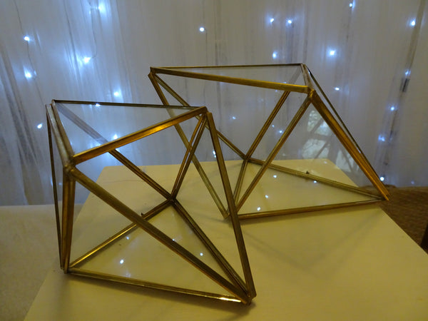 Brass geometric shaped terrarium