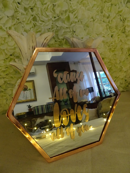 Rose gold framed mirror with customised words