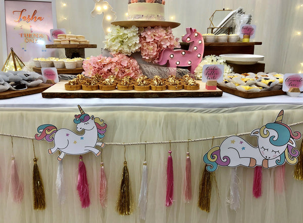 Pink, white and gold tassels