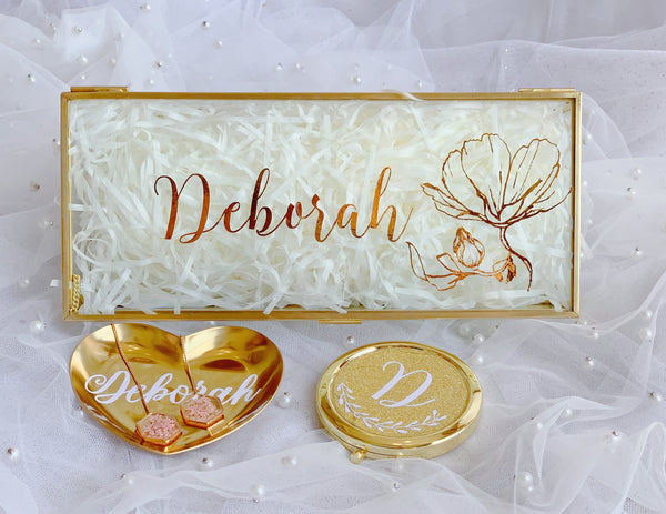 Gold glass box with customised words