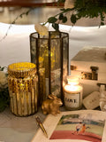 Brass hexagon distressed candle holders