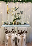 Bride & Groom wooden chair signage
