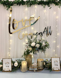 White tulle backdrop with artificial ivy leaves foliage & fairy lights