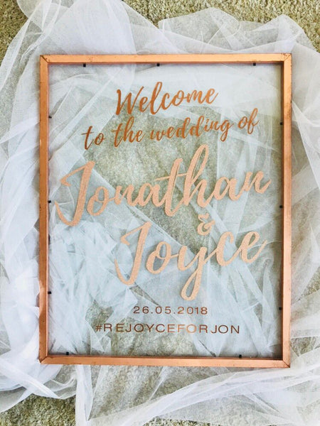 Frame welcome signage with customised words